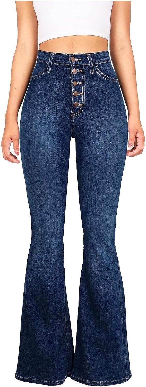 FUNEY Womens Sexy Slim Flare Jeans Elastic High-Waist Wide-Legged Pants Teenagers Classic Vintage Denim Skinny Pant