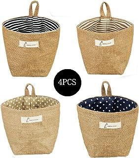 Sansheng 4PCS Wall-Hanging Storage Bags Hanging Storage Bags Cotton Linen Storage Basket Foldable Wall-Hanging Basket Fami...