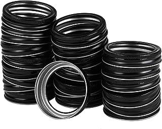 Ruisita 24 Pack Regular Mouth Mason Jar Lids Bands Tinplate Metal Replacement Rings for Canning Jars DIY Mason Jar Lids