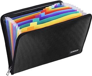 ファイルフォルダ JUNDUN ドキュメントファイル A4 ファイルケース 書類ケース 持ち運び 書類入れ 事務用品 13ポケット 拡張フォルダ 耐火 防水