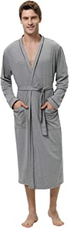 Mens Cotton Robe Lightweight Long Lounge Sleepwear Knit Bathrobe