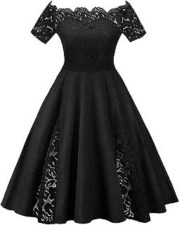 Rosegal Plus Size Vintage Scalloped Off Shoulder A-Line Lace Patchwork Party Dress