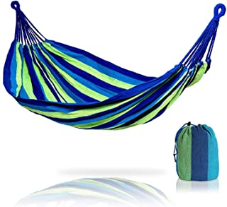 Camping Hammock Colorful Multifunctional Hammock Cotton Fabric Canvas Travel Hammocks 450lbs with Tree Straps Double Campi...