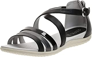 Geox Sand.Vega, Women's Fashion Sandals, Black (Black/Dark Grey), 41 EU