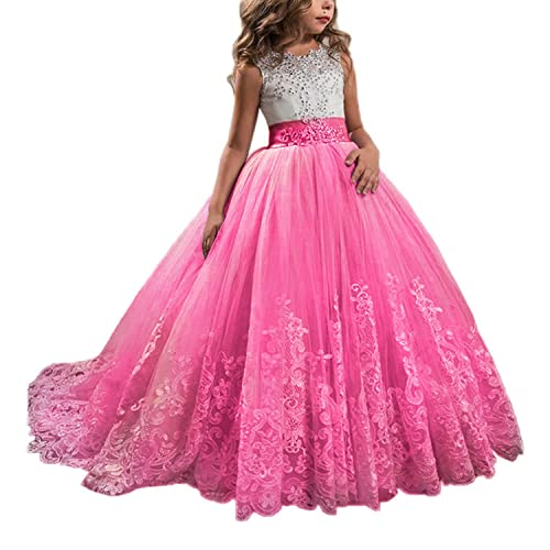 9ecc37a1674 Princess Lilac Long Girls Pageant Dresses Kids Prom Puffy Tulle Ball Gown