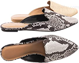 Aquapillar Slip On Mule Slippers - Women Flat Backless Pointed Toe Pump