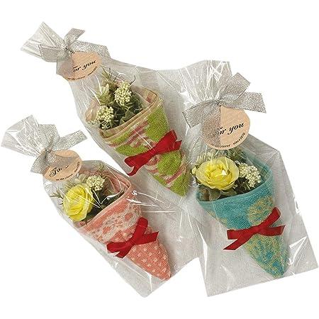 タオルの萩原 タオル ハンカチ ブーケ 3個 セット 色柄アソート ラッピング付 個包装 バラ ブーケ タオルギフト bouquet-th-gift3p