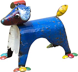 Upcycled Emporium Adorable Dog's Life Outdoor Dog Statue for Home, Outdoor Patio, and Garden Décor, Handcrafted from Recycled Metal Scraps and Colorfully Painted