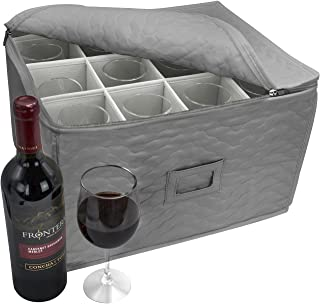 Sorbus Stemware Storage Chest - Deluxe Quilted Case with Dividers - Service for 12 - Great for Protecting or Transporting Wine Glasses, Champagne Flutes, Goblets, and More (Storage Glass - Gray)