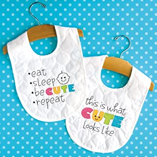 Dimensions Stamped Cross Stitch Kit 'Cute' DIY White Baby Bibs, 2 pc., 9