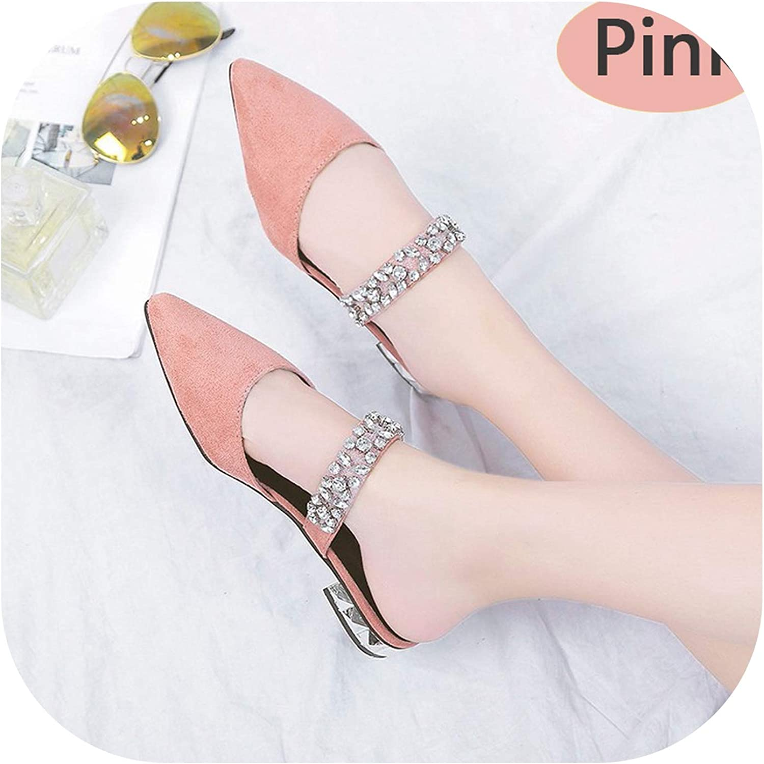 Sweetest-Thing Pointed Mule Slippers,Pointed Toe Suede Square Heel Flip Flops Sandales