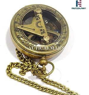 NAUTICALMART Brass Push Button Compass Maritime Nautical Mini Sundial Compass Desk Gift (Antique)