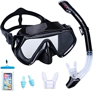 Supertrip Snorkel Set Adults-Anti-Fog Film Scuba Snorkeling Diving Mask with Impact Resistant Temperred Glass|Dry Top Snorkel,2 Mouthpieces 1 Waterproof Case Included