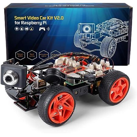 SunFounder Raspberry Pi スマートロボットカー,カメラ付き ロボットカーキット,プログラミング 電子工作 おもちゃ、10代と大人向け、Raspberry Pi 4B/3B/3B+用(※Raspberry Piメインボード、18650電池は含まれていません)