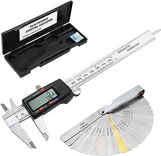 eSynic Digital Vernier Caliper with 32 Blade Feeler Gauge 150mm/6Inch Stainless Steel Body Electronic Caliper Fraction/Inch/Metric Conversion Measuring Tool for Length Width Depth Inner Outer Diameter