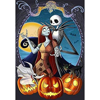 DIY Diamond Painting Kit Halloween for Adult,Jack and Bride Sally Full Round Diamond Drill Kit,Gem Art Craft Home Game for Children Kid,5D Wall Painting Art 15.8x11.8 inch