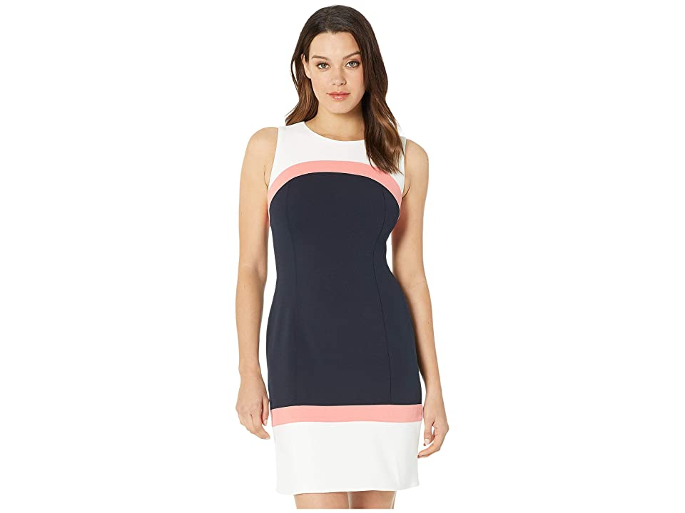 Tommy Hilfiger Scuba Crepe Color Block A-Line Dress (Ivory/Bloom/Sky Captain) Women