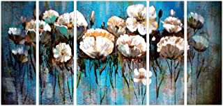 Art Amori Bunch of Flower Painting set of 5 MDF Painting Multicolour 12x18 Inch - 1 Piece + 6x18 Inch-4 pieces for Wall Pa...