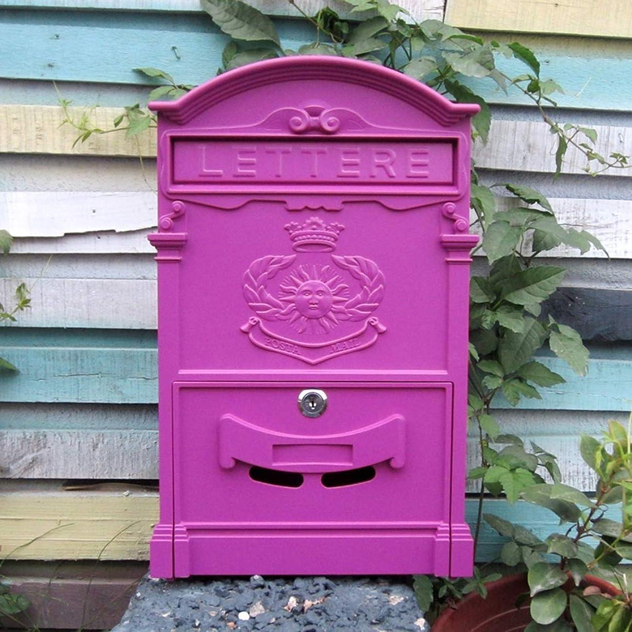 アクセル特権寝てるヨーロッパの郵便箱の屋外の壁掛けのポスト箱の防水新聞箱の紫色のピンク 屋外セキュリティメールボックス