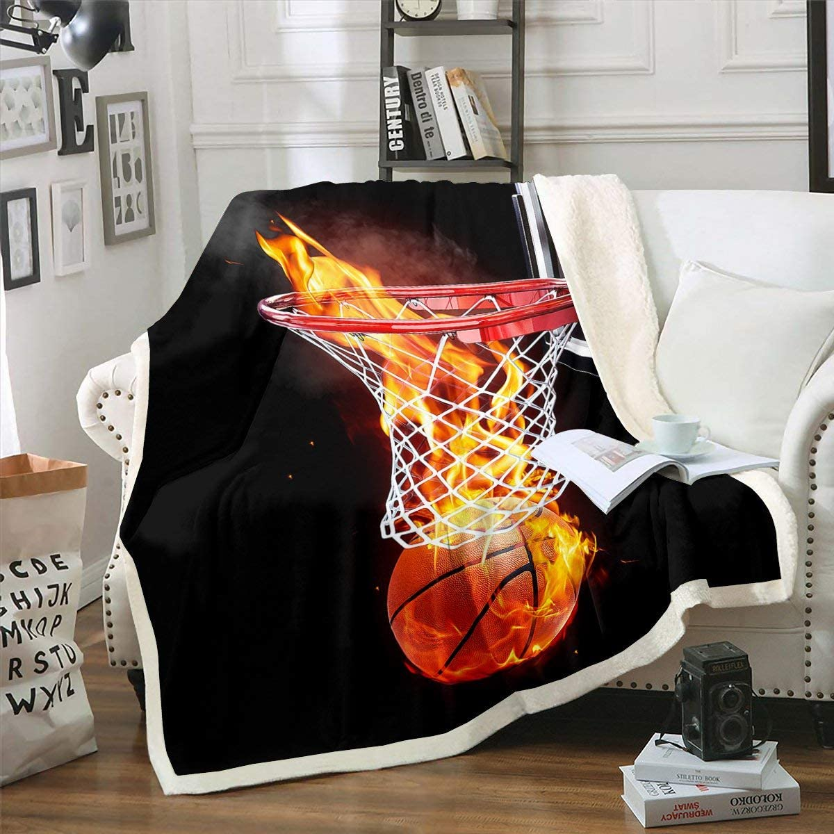 Boys Basketball Fleece Throw Blanket for Ball service 3D Complete Free Shipping Sherpa