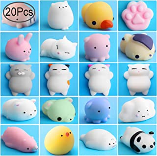 Outee Mini Squishies Kawaii, 20 Pcs Animal Squishies Mochi Squeeze Toys Soft Squishies Release Stress Animal Toys Mini Seal Octopus Rabbit Chick Cat Pig Tiger Fox Panda Cloud Random