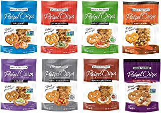 Snack Factory Deli Style Crunchy Pretzel Cracker Crisps, 8 Flavor Variety Pack, 7.2 Ounce Bags (Pack of 24)