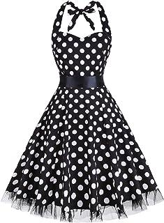 فستان نسائي ماركة oten Vintage Polka Dot Halter Dress 1950s Floral Sping Retro Rockabilly Cocktail Swing فساتين الشاي