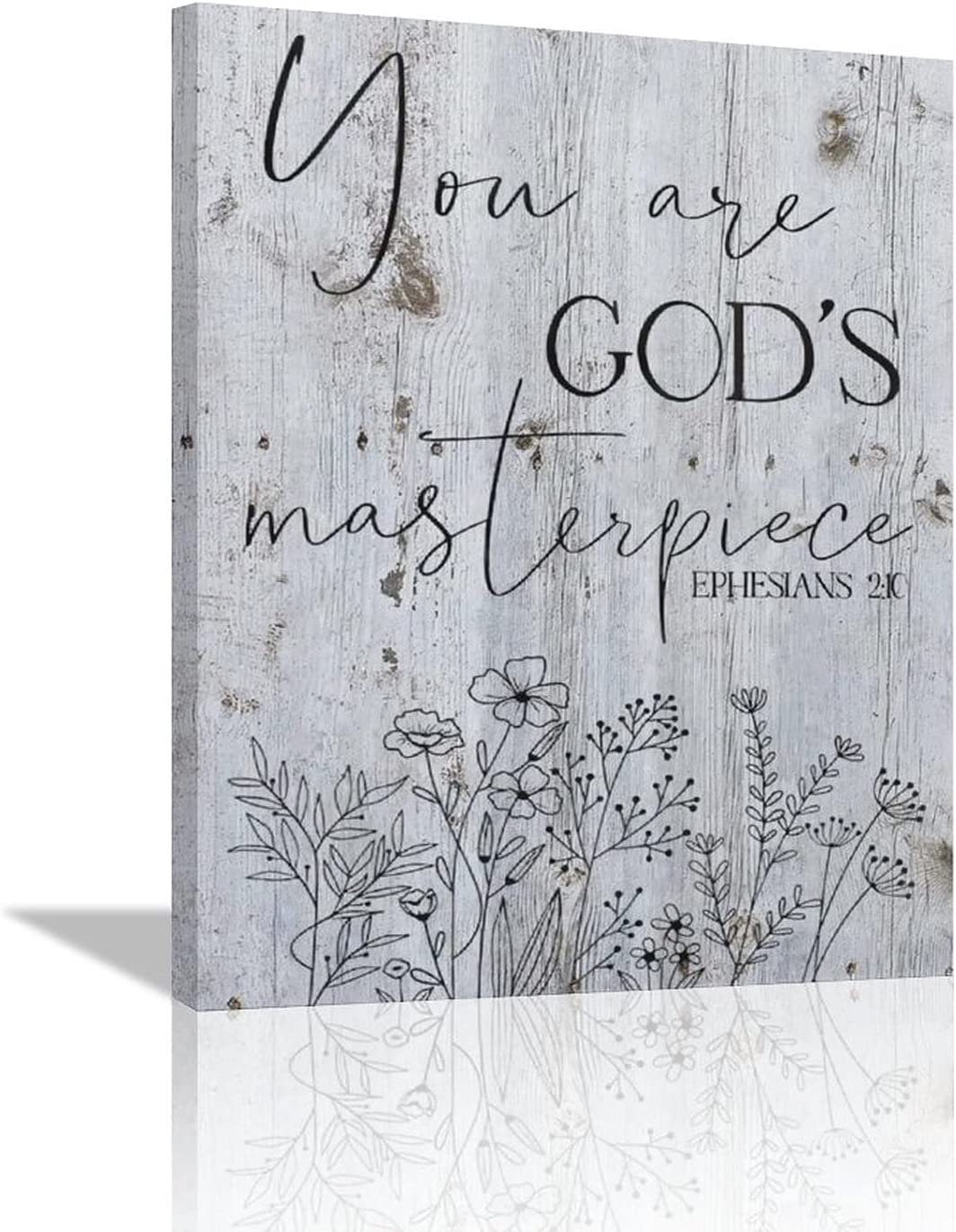 citari Christian Wall Art Scripture Bible Verse Canvas Print Inspirational Poster Black and White Painting Rustic Farmhouse Wall Décor Religious Picture Motivational Quotes Framed Artwork 12