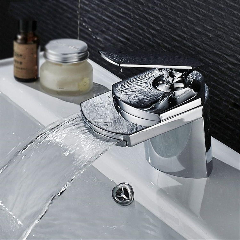 Bijjaladeva Wasserhahn Bad Wasserfall Mischbatterie WaschbeckenMessing-Wasserfall Waschbecken Einzelne Bohrung und Kaltes Wasser aus Dem Wasserhahn Waschbecken Armatur C