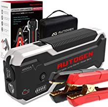 AUTOGEN 4000A Car Jump Starter (10.0L+ Gasoline & Diesel), 12-Volt Portable Lithium Battery Jumper Box Booster Pack for Cars, SUVs, Trucks. Huge Power Bank with Quick Charge 3.0