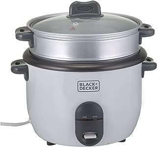 Black+Decker 700W 1.8L 2-in-1 Non-Stick Rice Cooker with Steamer, White - RC1860-B5