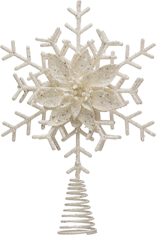 Creative Co-op Rare Plastic Snowflake White New product!! Topper Glitter Tree