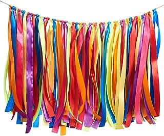 WANDIC Colorful Ribbon Tassel Garland, Fabric Banner Backdrop for Baby Shower, Weddings, Birthday, Anniversary, Graduation Party Decoration Supplies