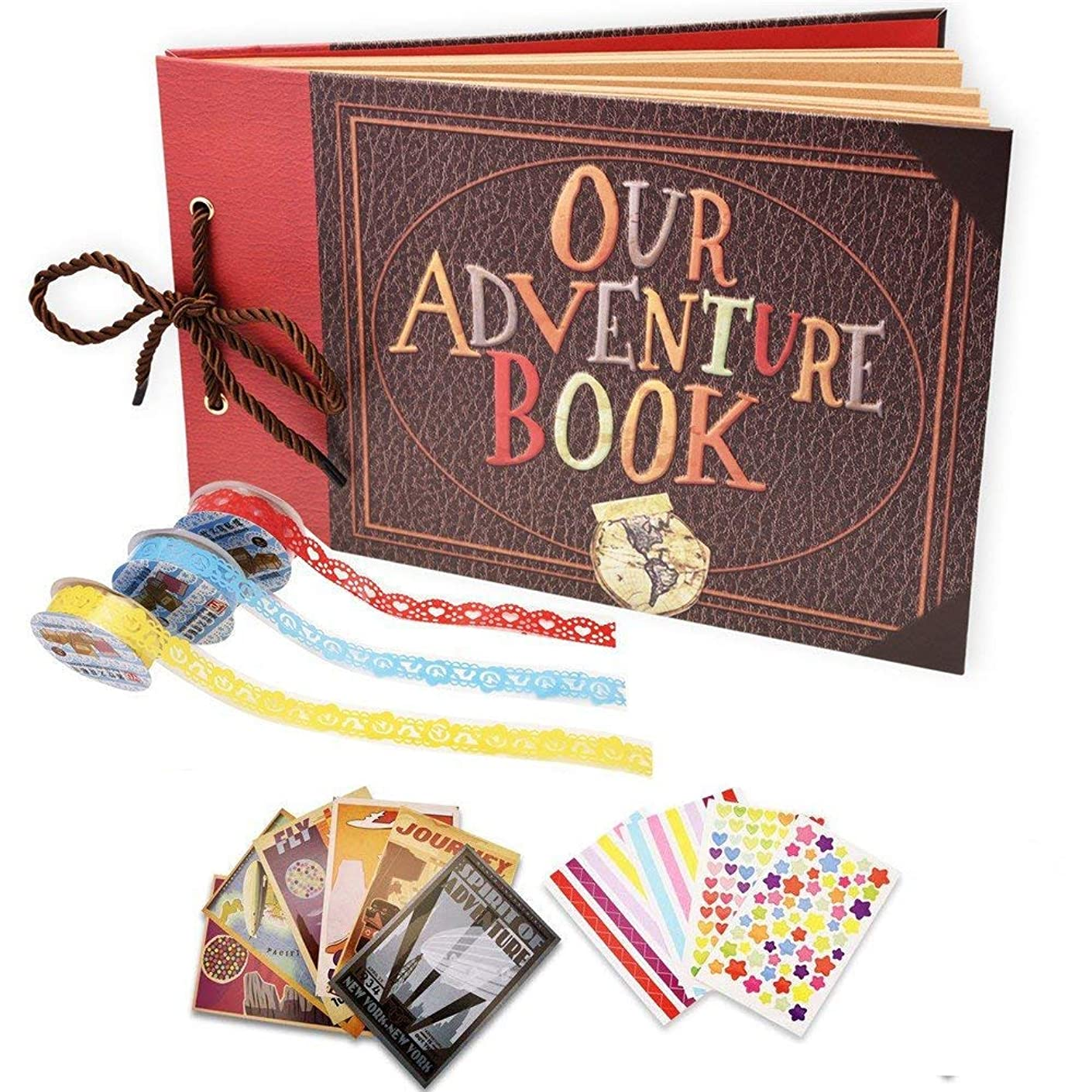 DEBON Our Adventure Book Scrapbook Photo Album Handmade DIY Scrapbook Album Expandable 80 Pages with Accessories Kit Wonderful Gift for Family Anniversary Wedding Birthday Thanksgiving Day
