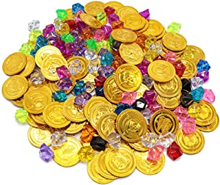 CLISPEED 320pcs Pirate Toys Gold Coins Pirate Gems Jewelery Playset Treasure Gemstones Coin for Kids Birthday Pirate Party...
