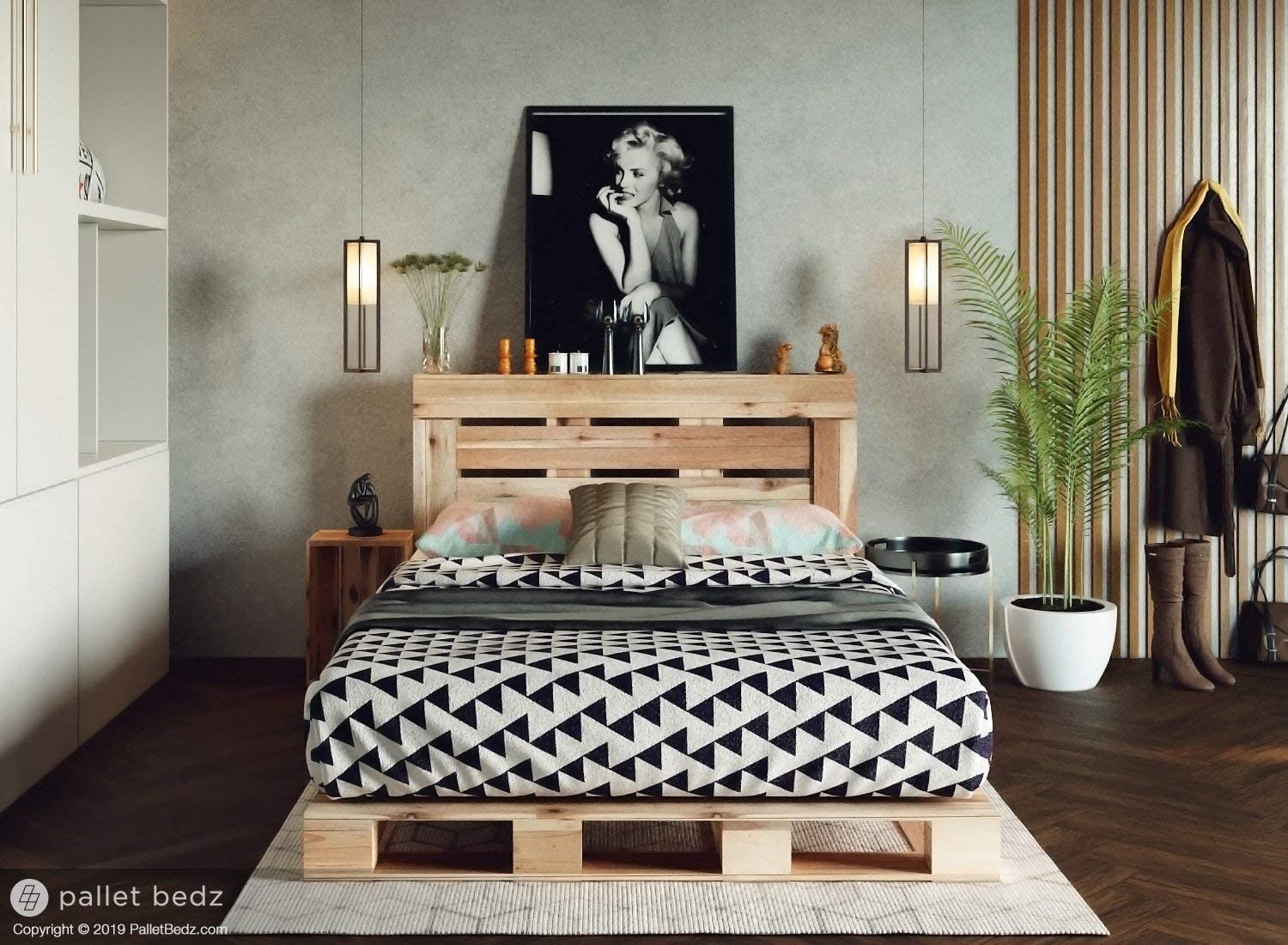 Full Size Pallet Bed For The Modern And Natural Home 100 Hand Crafted In The Usa Amazon Ca Home