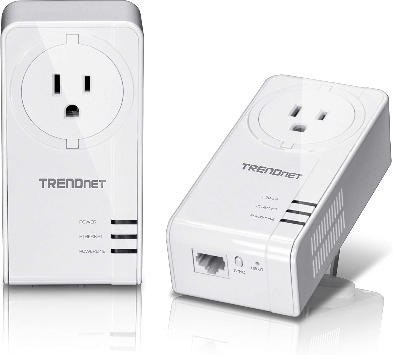 TRENDnet Powerline 1300 AV2 Adapter with Built-in Outlet Adapter Kit, Includes 2 x TPL-423E Adapters, IEEE 1905.1 & IEEE 1901, Gigabit Port, Range Up to 300m (984 ft.), TPL-423E2K (Renewed)