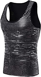 Howely Men Nightclub Stage Clothing Fashion Crewneck Sequin Tank Top