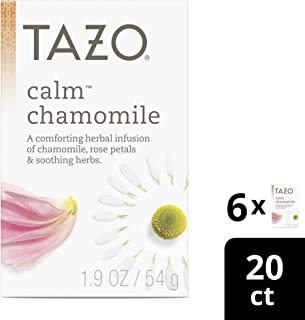 Tazo Tea Bags for a cup of relaxing chamomile tea Calm Chamomile Herbal Tea caffeine free 20 count, Pack of 6