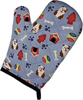 "Caroline's Treasures BB2734OVMT Dog House Collection English Bulldog Brindle White Oven Mitt, 12"" by 8.5"", Multicolor"