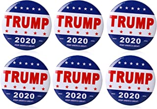 6 Pack Donald Trump Badge 2 Inch Name Badge for 2020 United States President - Keep America Great Pin Back for Super Patriot