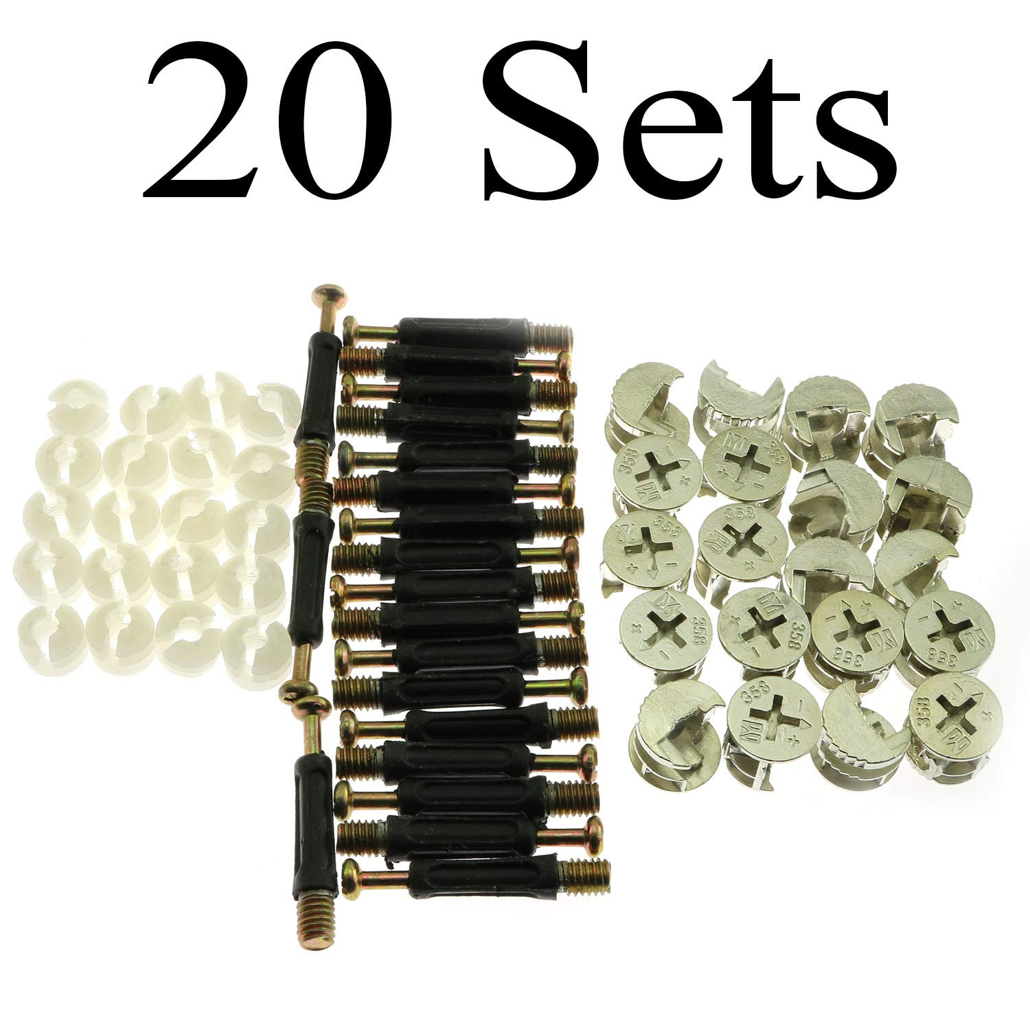 20Sets Furniture Connecting Fittings 20pcs 358 Fitting + 20pcs 40mm Fitting Screw + 20pcs Open Colloid