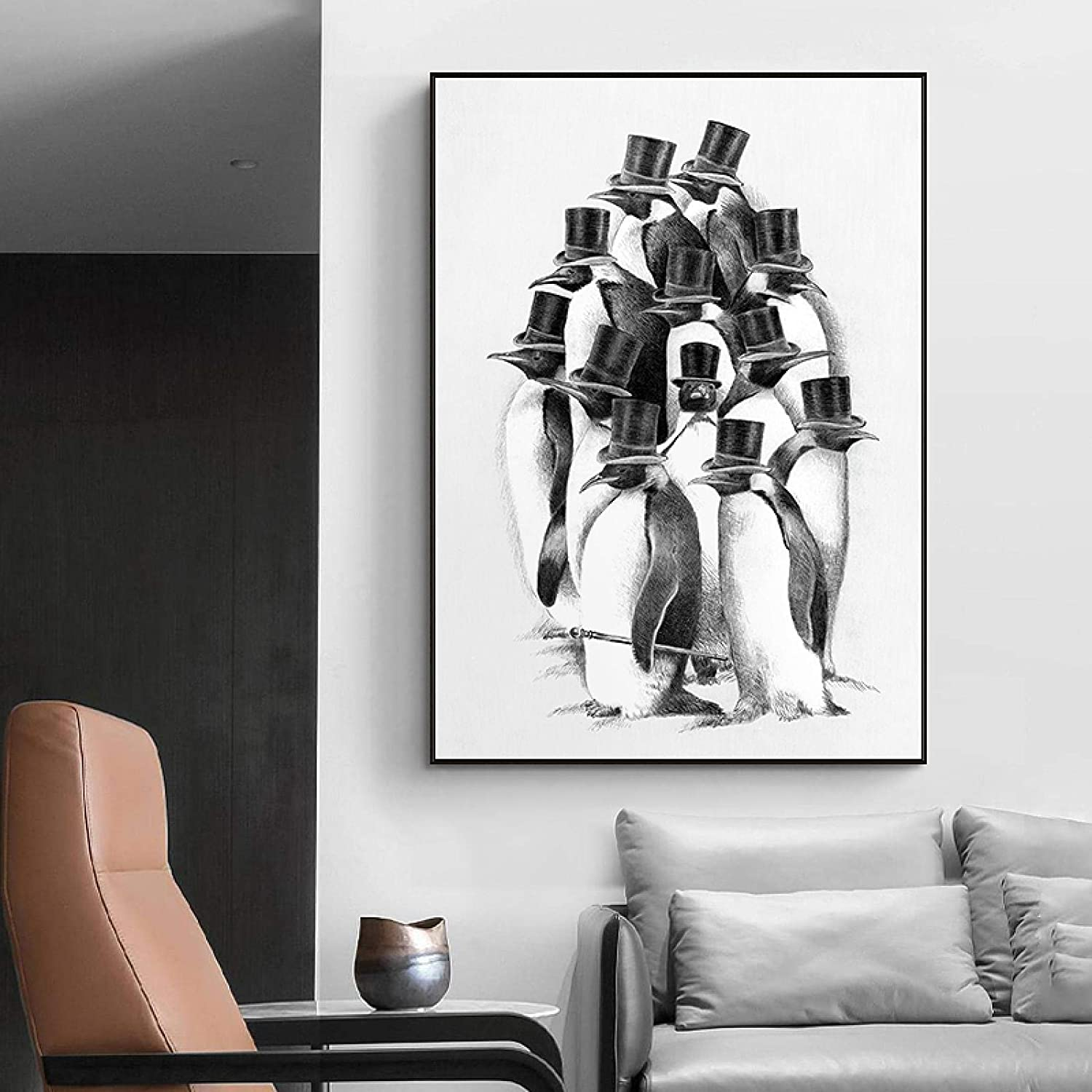 Canvas Painting Modern Cartoon Excellent Black Cute Animal Penguins White Free shipping New