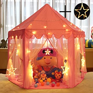 Senodeer Princess Castle Play Tent for Girls with Large Star Lights, Kids Toys Playhouse Gift Idea for Little Girls Indoor and Outdoor Games, Pink