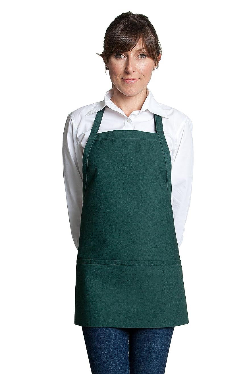 Fiumara Apparel Classic Look Bib Apron with 3 pockets Poly Cotton - Hunter Green| 24