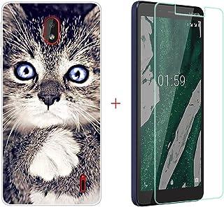 YZKJ Fodral till Nokia 1 Plus Cover Transparent mjukt silikon skyddsfodral Flexibelt TPU-skal fodral pansarglas skärmskydd...