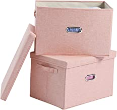 Polecasa Pink Storage Bins with Lid-2 Pack-Removable Lid, Collapsible, Stackable, Linen Fabric. Storage Cubes Boxes Contai...