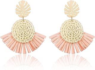 Woven Rattan Straw Wicker Tassel Earrings for Women Handmade Wicker Straw Braid Drop Dangle Earrings