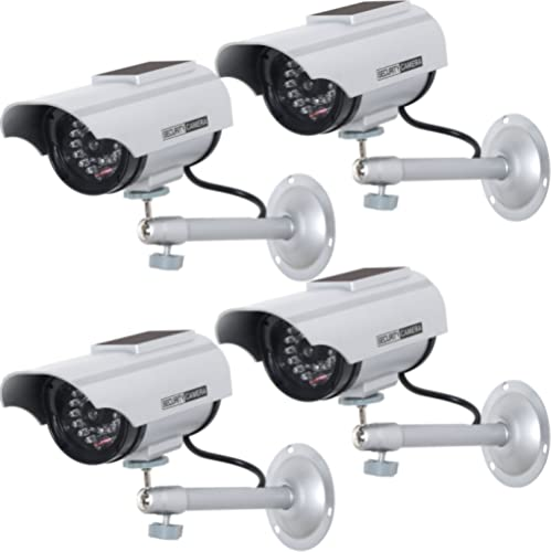 WALI Bullet Dummy Fake Simulated Surveillance Security CCTV Dome Camera Indoor Outdoor with One LED Light TC-W4 White 4 Packs Warning Security Alert Sticker Decal