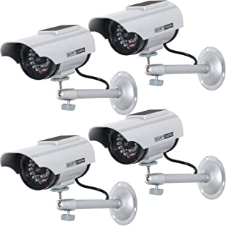 WALI Solar Powered Bullet Dummy Fake Simulated Surveillance Security CCTV Dome Camera Indoor Outdoor with 1 LED Light, Warning Security Alert Sticker Decal (SOLTC-S4), 4 Packs, Silver